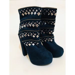 New Liliana Dark Blue Platform Heel Booties